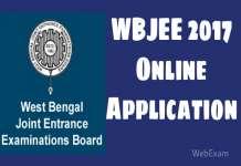WBJEE 2017 ONLINE APPLICATION