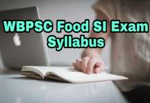 West bengal food Sub inspector Exam 2018 Syllabus
