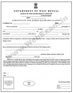 West Bengal SC/ST/OBC Caste Certificate