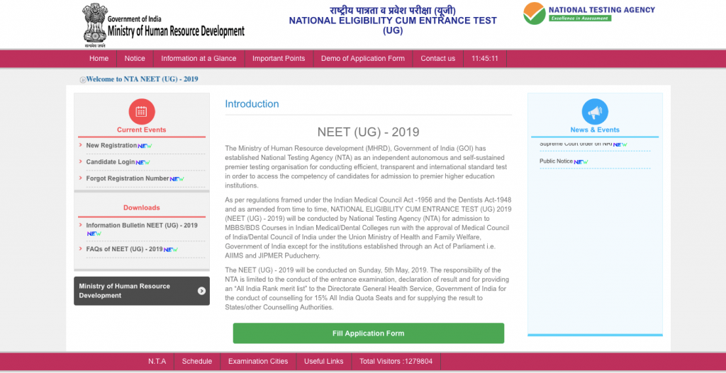 NTA NEET 2019 Application Form