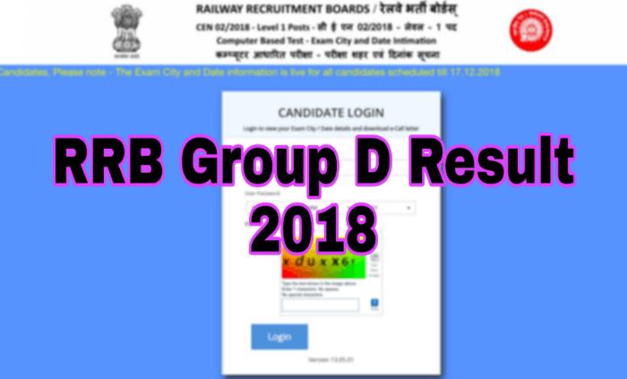 RRB Group d Result 2018