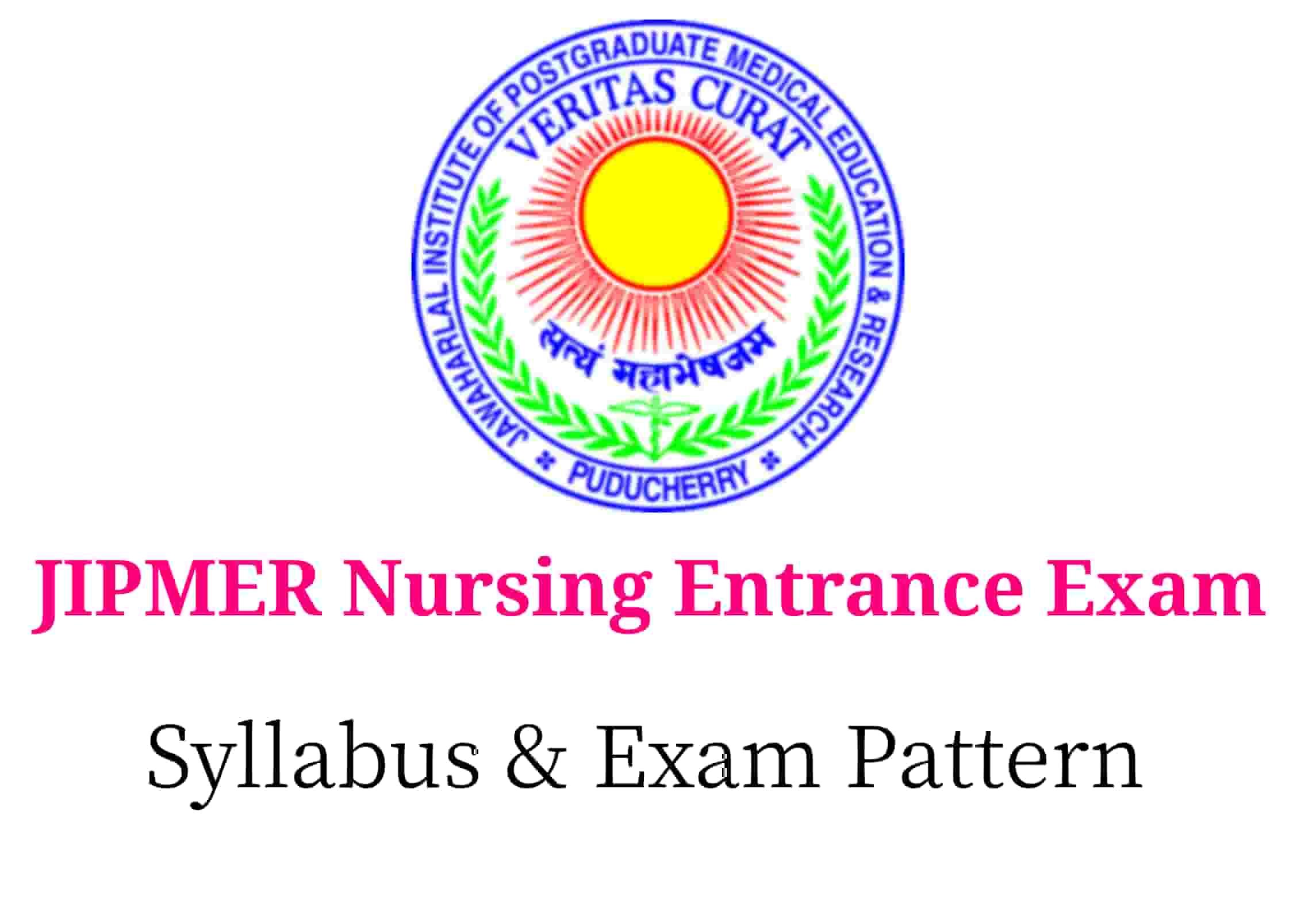 JIPMER Nursing 2019 Syllabus, Patten, exam centres