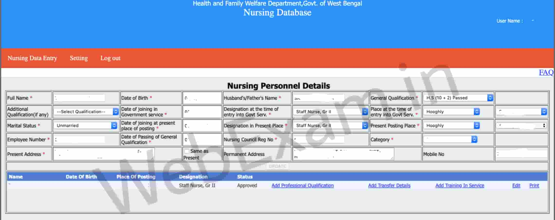 WB Health Staff Nurse Mutual Transfer Online Application Process