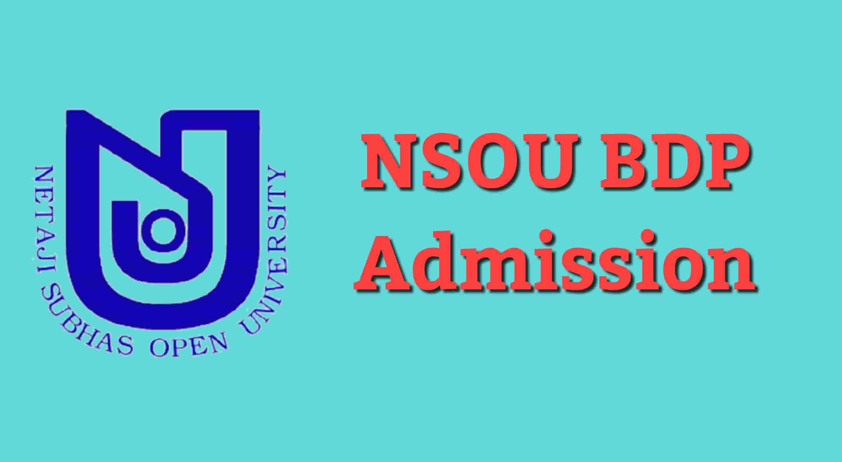NSOU BDP Admission 2019
