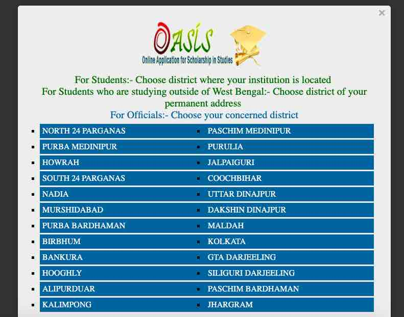 OASIS Scholarship district list for students