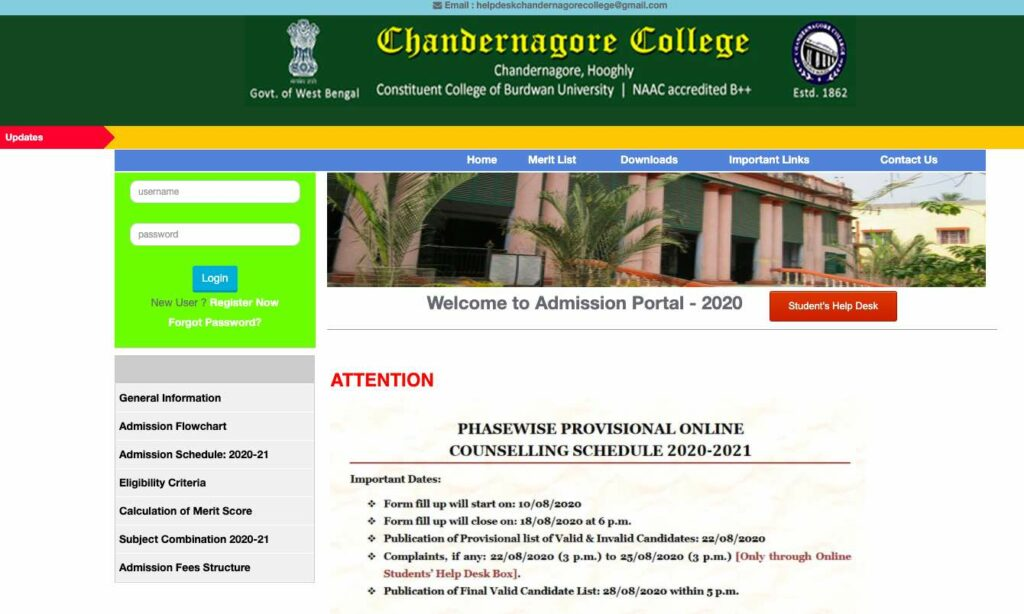 Candernagore College admission