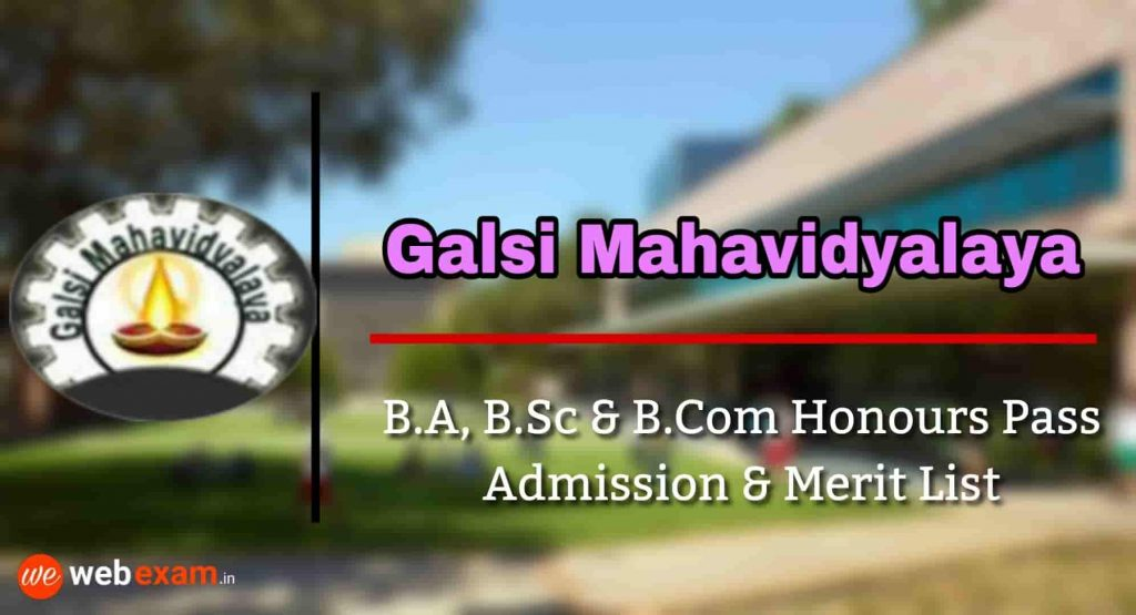 Galsi Mahavidyalaya Admission & Merit List Download