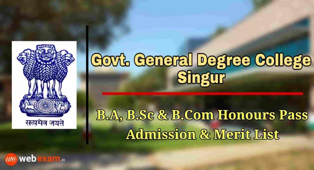 Singur Government College Admission