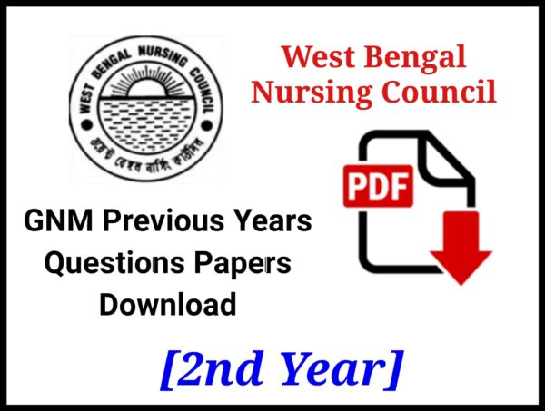 WBNC GNM 2nd Year Question Papers PDF Download