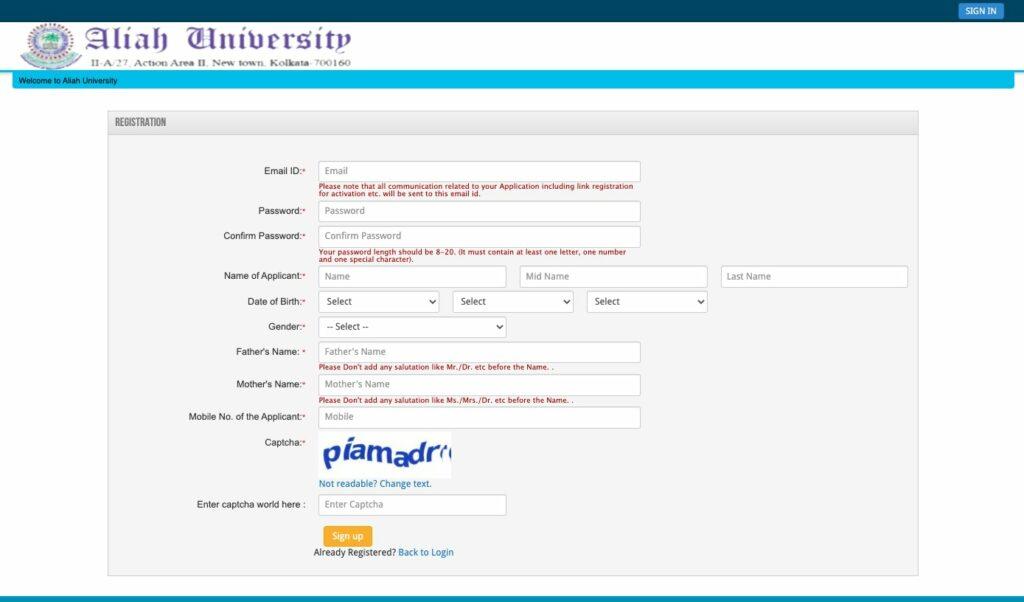 Aliah University AUAT Registration