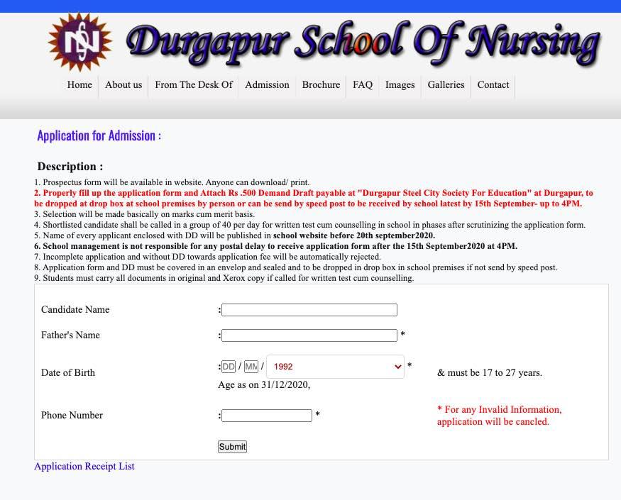 Durgapur School of Nursing GNM Admission 2020 - Apply Online 1