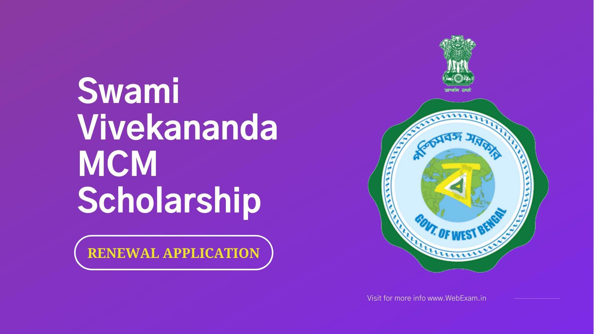 Swami Vivekananda Scholarship renewal