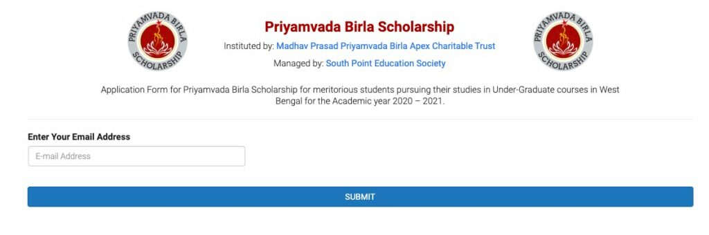 Priyamvada Birla Scholarship online application 2020