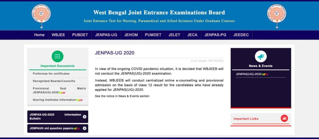 WBJEE JENPAS Counselling 2020 BSc Nursing Admission 1