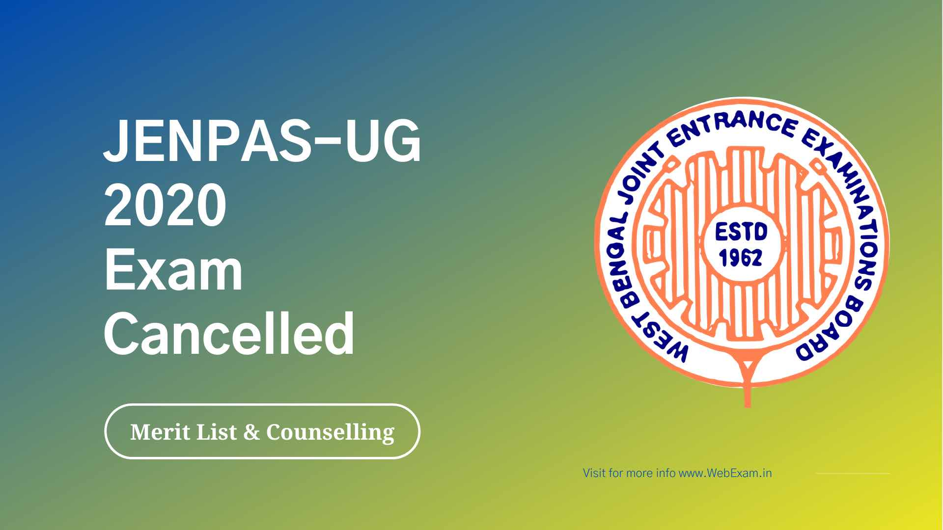 WBJEE JENPAS UG 2020 Exam cancelled