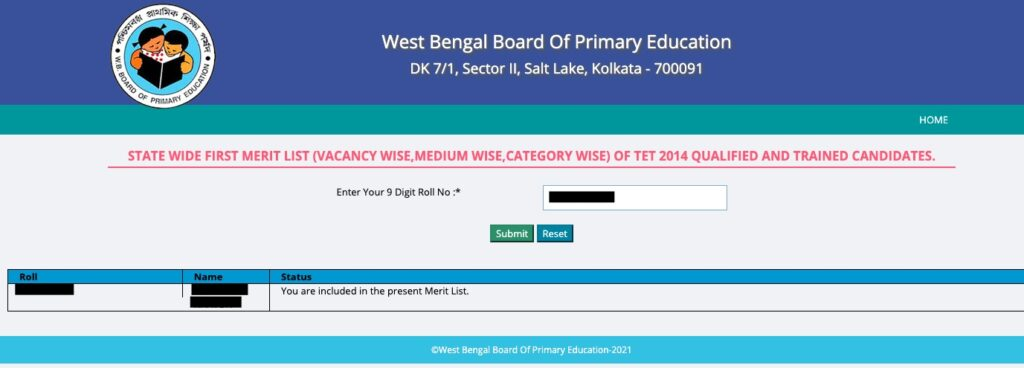 WBBPE Primary TET Selected Candidates Result - Empanelled for Appointment TET 2014 1